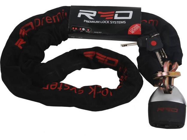 אופנוסנטר, ציוד לאופנועים ואביזרים לאופנוע - מנעול שרשרת לאופנוע תליי עובי 10 מ RED