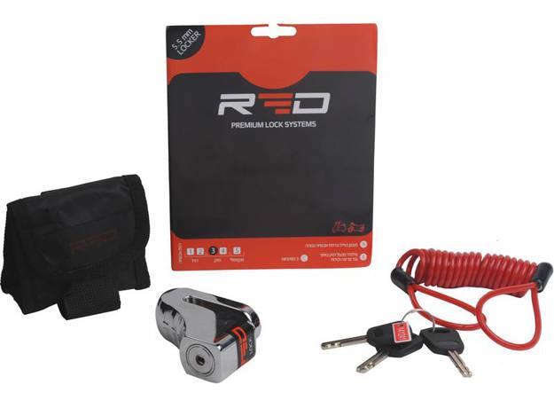 אופנוסנטר, ציוד לאופנועים ואביזרים לאופנוע - מנעול דיסק לאופנוע 5.5 ממ RED