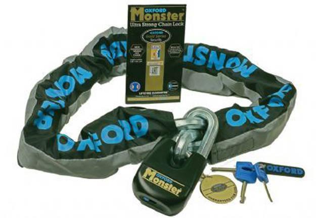 אופנוסנטר, ציוד לאופנועים ואביזרים לאופנוע - מנעול שרשרת לאופנוע סופר בטיחותי MONSTER