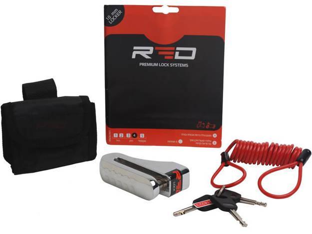 אופנוסנטר, ציוד לאופנועים ואביזרים לאופנוע - מנעול דיסק לאופנוע 10 ממ RED