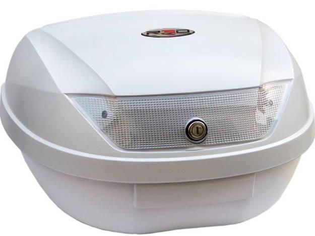 אופנוסנטר, ציוד לאופנועים ואביזרים לאופנוע - ארגז RED עם מנגנון נעילה סמויה דגם 48L צבע לבן