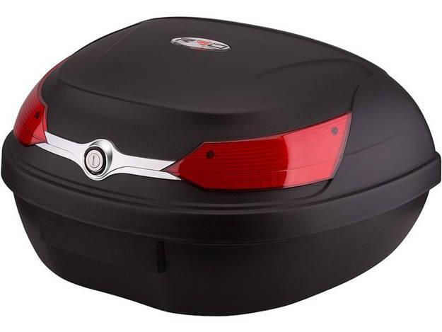 אופנוסנטר, ציוד לאופנועים ואביזרים לאופנוע - ארגז לאופנוע RED עם מנגנון נעילה סמויה 48L צבע שחור/אדום