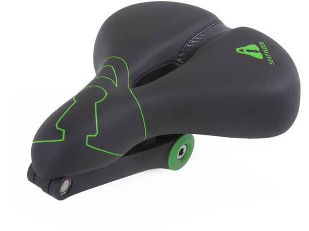אופנוסנטר, ציוד לאופנועים ואביזרים לאופנוע - כסא אופניים משולב מנעול SEATYLOCK דגם COMFORT צבע שחור-ירוק