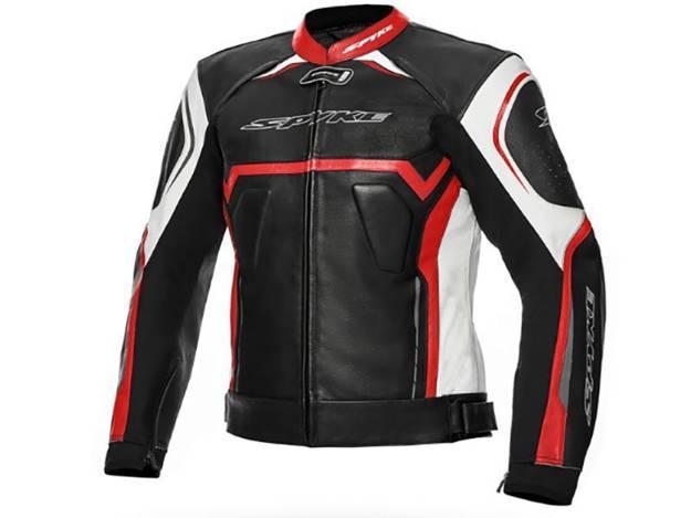 ���������, ���� ��������� �������� ������� - מעיל עור SPYKE דגם JEREZ EVO צבע לבן שחור אדום
