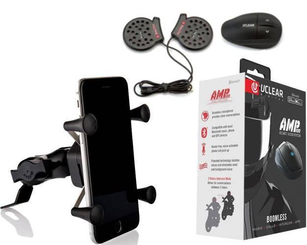 אופנוסנטר, ציוד לאופנועים ואביזרים לאופנוע - חבילת תקשורת לרוכב - דיבורית לקסדה + מתקן לטלפון לאופנוע