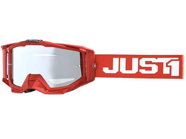 אופנוסנטר, ציוד לאופנועים ואביזרים לאופנוע - משקפי אבק JUST1 דגם IRIS צבע  TRACK RED-WHITE