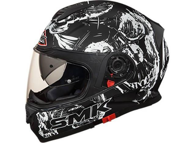 אופנוסנטר, ציוד לאופנועים ואביזרים לאופנוע - קסדה מלאה SMK דגם TWISTER צבע skull שחור