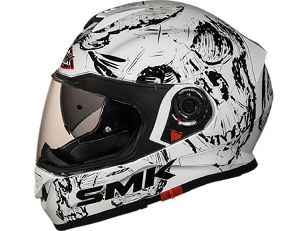 אופנוסנטר, ציוד לאופנועים ואביזרים לאופנוע - קסדה מלאה SMK דגם TWISTER צבע skull לבן