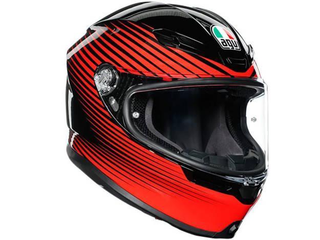 אופנוסנטר, ציוד לאופנועים ואביזרים לאופנוע - קסדה מלאה AGV דגם K-6 צבע  RUSH אדום שחור