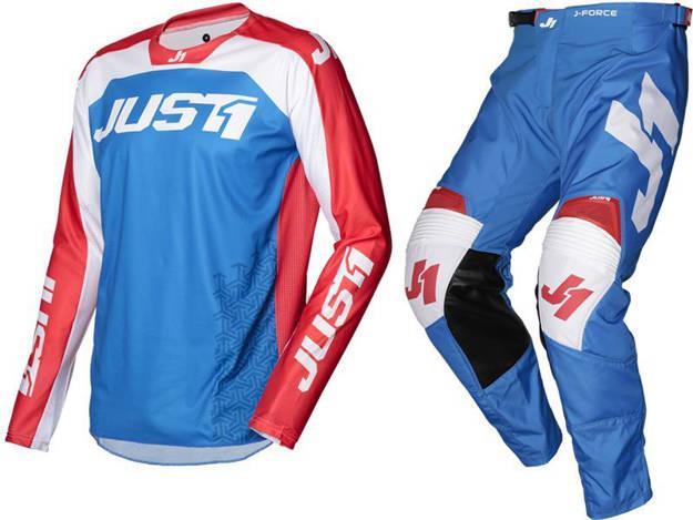 אופנוסנטר, ציוד לאופנועים ואביזרים לאופנוע - חליפת שטח JUST1 דגם J-FORCE TERRA צבע כחול אדום לבן