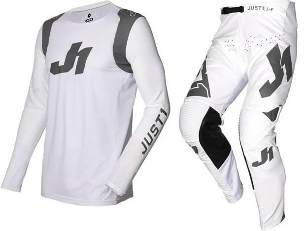 אופנוסנטר, ציוד לאופנועים ואביזרים לאופנוע - חליפת שטח JUST1 דגם J-FLEX ARIA צבע לבן אפור