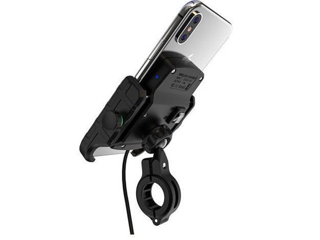 אופנוסנטר, ציוד לאופנועים ואביזרים לאופנוע - מתקן לטלפון אוניברסלי כולל טעינה אלחוטית לאופנוע/ קטנוע
