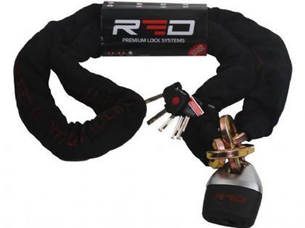 אופנוסנטר, ציוד לאופנועים ואביזרים לאופנוע - מנעול שרשרת  לאופנוע  ביטוח עובי 12 מ RED