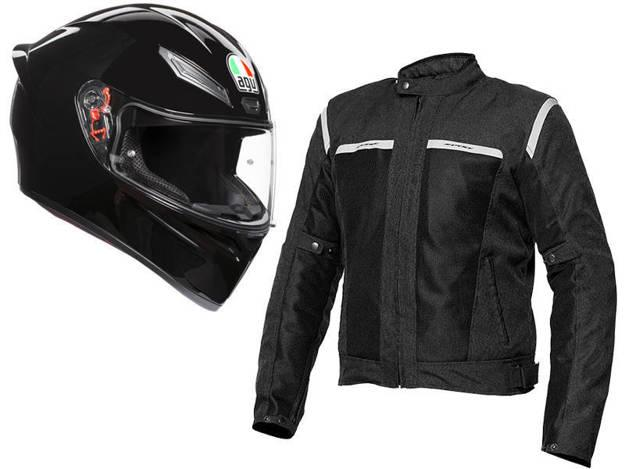 אופנוסנטר, ציוד לאופנועים ואביזרים לאופנוע - חבילת אביתר איטלקית - מעיל רב עונתי SPYKE + קסדת AGV K1