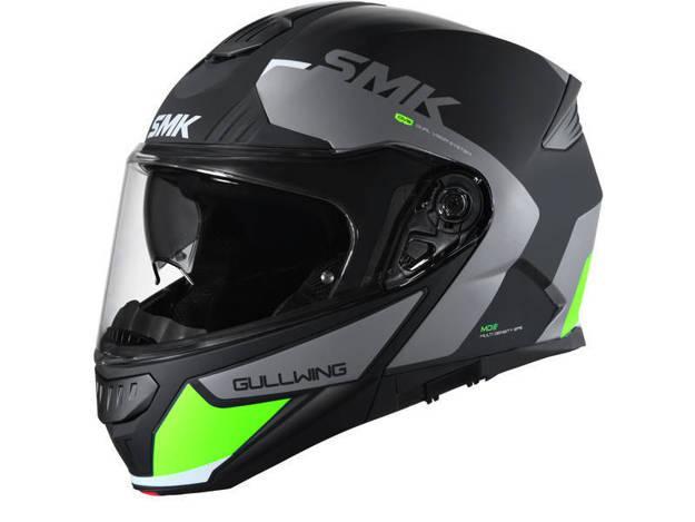 אופנוסנטר, ציוד לאופנועים ואביזרים לאופנוע - קסדה נפתחת SMK דגם GULLWING שחור אפור ירוק