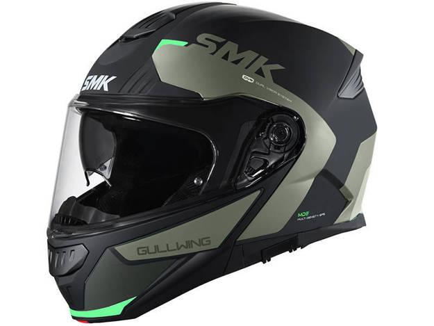 אופנוסנטר, ציוד לאופנועים ואביזרים לאופנוע - קסדה נפתחת SMK דגם GULLWING צבע  KRESTO אפור ירוק